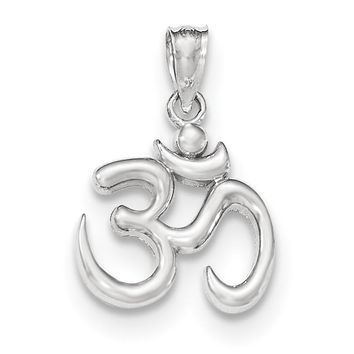 14k White Gold Polished Om Symbol Pendant K5438