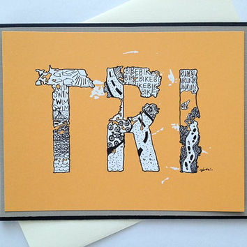 TRI Zentangle Doodle Handmade Triathlon Greeting Card (Orange) - Encouragement, Good Luck, Inspirational, Congratulations for Triathletes