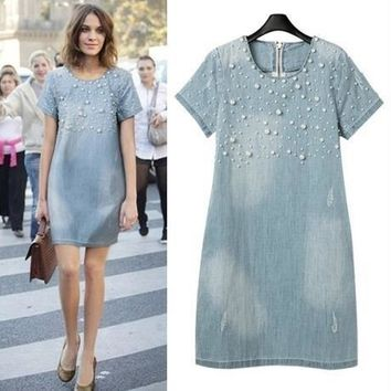 S-5xl Women classic A line Denim Plus Size Dress O neck Pearl Short Sleeve Loose Casual Jeans Natural vestidos maxi summer long