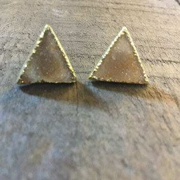Triangle  Drusy Earrings