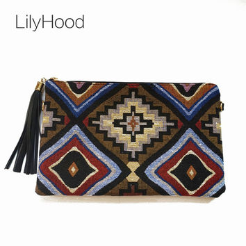 LilyHood Female Vintage Clutch Gypsy Bohemian Boho Chic Hippie Aztec Tribal Indian Retro Folk Woven Fabric PU Leather Clutch Bag