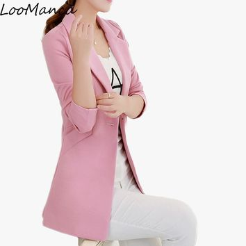 Long Blazers Jacket Women Plus Size Spring Autumn One Button Office Suit Elegant Women Blazer