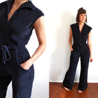 70's Black Velour Bell Bottom Jumpsuit