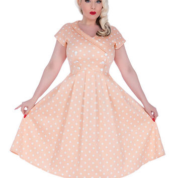 Voodoo Vixen Peach Polka Dot Dress