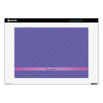 Pink stars on a blue background. Add name. Decal For Laptop
