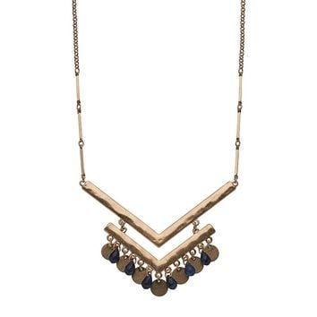 SONOMA life + style Bead & Chevron Long Necklace (Blue)