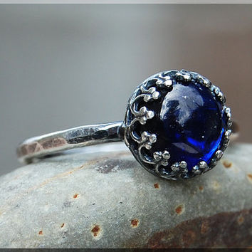 Blue Sapphire Ring, Crown Bezel Set Sapphire Ring, Sterling Silver Sapphire Ring, September Birthstone Ring, Blue Sapphire Engagement Ring