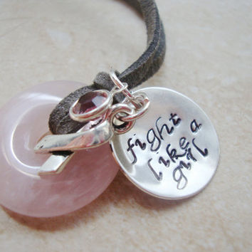 Pink quartz fight like a girl necklace with handstamped silver disc swarovski crystal and cancer ribbon