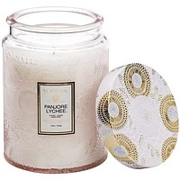 VOLUSPA LARGE EMBOSSED GLASS JAR CANDLE - PANJORE LYCHEE
