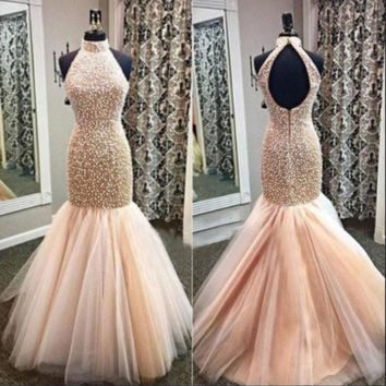 Beads High Neck Mermaid Prom Dresses 2017 New Off The Shoulder Pearls Long Tulle Evening Dresses Cus