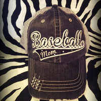 Custom Baseball Mom Mema Aunt Team Distressed Mesh Baseball Bling Hat