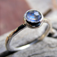 Faceted Labradorite Ring, Labradorite Silver Ring, 6mm Rosecut Labradorite Stone Ring, Rustic, Organic, Simple Ring