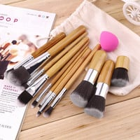 Hot Worldwide 11Pcs Makeup Eyeshadow Foundation Concealer Brushes Sets+ Sponge Blender Puff