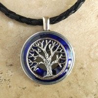 tree of life necklace: royal blue - mens necklace - celtic jewelry - leather cord - mens jewelry - tree jewelry - boyfriend gift - spiritual