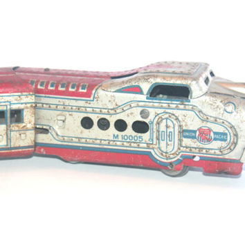 RESERVED FOR S Antique 1930s Marx M10005Tin Litho Red Train Union Pacific, Vintage Toys Collectible, Antique Alchemy