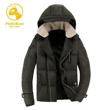 Field Base Men Winter Parkas Casual New Hooded Thick Padded Jacket Zipper Slim Men Coats Men Parka Outwear Warm Male Jackets