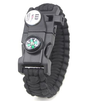 Outdoor Multifunctional Bracelet Men Women Braided Paracord Camping Emergency SOS LED Light Compass Whistle Knife Survival Tool