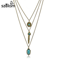Turquoise Flower Long Necklace Women Ethnic Leaf Gold Silver Chain Multilayer Necklaces