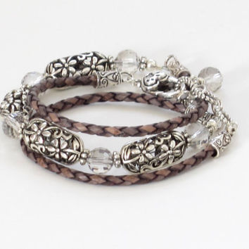 Braided Bolo Cord 3x Leather Wrap Bracelet Necklace Pewter Filigree Beads Silver Checkerboard Crystals Heart Lobster Claw Handmade