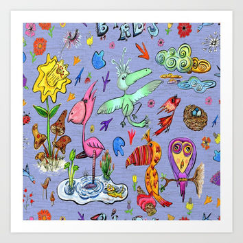 Birds and flowers Art Print by Amy Gale