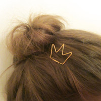 Crown Hair Stick / Cute Gold Hairpin / Hair Fork / Pin Hair Accessory / Hair Holder / OOAK / Childrens Accessory / Christmas Gift / E700