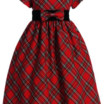 Red & Green Plaid Christmas Holiday Dress with Black Velvet Trim (Girls 4T to Size 12)