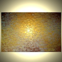 Gold Palette Knife Painting, Original Abstract Art, Bronze Large Painting, by Lafferty - 24X36, 22% Off