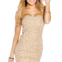 Golden Woven Textured Sparkle Tube Dress