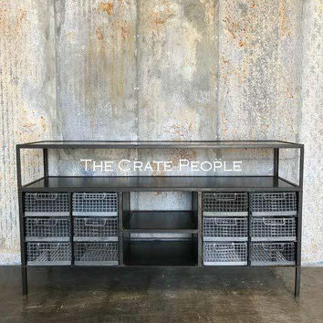 "Vintage Industrial ""X"" brace TV Console - METAL Console - Customizable Furniture"
