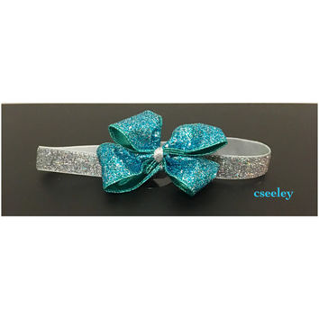 Teal sparkly silver headband. Premie, newborn, all ages.