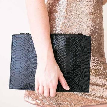 In The Palm of Your Hand Faux Leather Clutch- Black