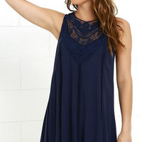 Black Swan Evelina Navy Blue Lace Dress