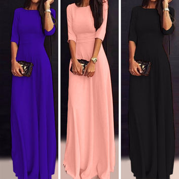 Ruiyige Women Chiffon Half Sleeve Long Maxi Dress Party Evening Cocktail Wedding Prom Gown Dresses Party Elegant Summer Boho