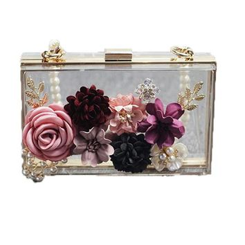 Luxury Pearl Flower Women Clutches Crossbody Bags Long Gold Chain Messenger Bag Handbag Purse Sweet Clear Minaudiere Evening Bag