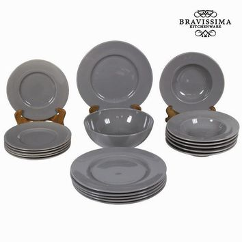 19 piece grey dinner set - Kitchen's Deco Collection by Bravissima Kitchen