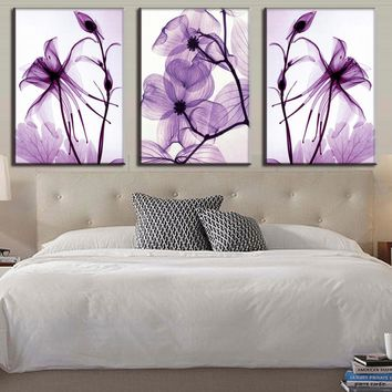 Painting Wall Art Prints HD Decorative Modular Pictures 3 Pieces/Pcs Purple Flower Framework Canvas For Living Room Bedroom