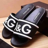 Dolce & Gabbana New Fashion Letter Print Women And Men Slipper Sandals Black