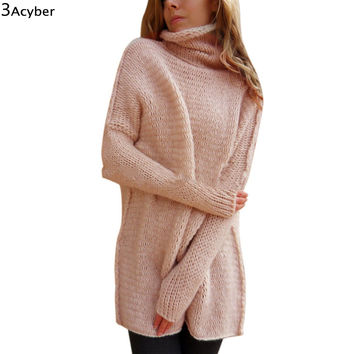 FANALA Winter Sweater Women Christmas Long Sweaters Knitted Turtle Neck Thick Warm Women Sweater and Pullovers Sweater Dress