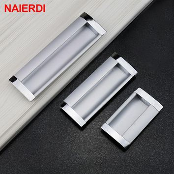 5PCS NAIERDI Aluminum Alloy Handles Modern Embed Knobs Kitchen Cabinet Cupboard Door Drawer Handle Wardrobe Hidden Pull Hardware