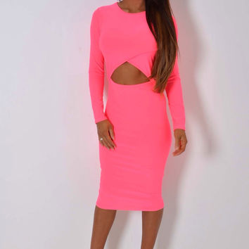 Cut-Out Midi Dress Neon Pink