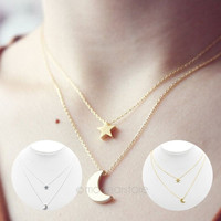 Women Bohemian Moon & Star Double-Layer Pendant Vertical Drop Bar Sexy Necklace = 1928423300