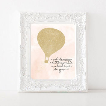 She Leaves a Little Sparkle Wherever She Goes, PRINTABLE nursery art, 8x10 print, Pink Nursery Decor