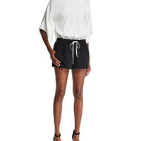 Ramy Brook Roy Drawstring-Waist Two-Tone Romper, White/Black