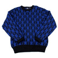 Vintage 90s Black/Blue Geometric Print Christmas Wool Sweater Mens Size Medium