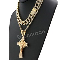 Hip Hop Iced Out Quavo Shining Cross Miami Cuban Choker Chain Necklace L34