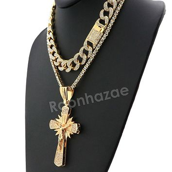 Hip Hop Quavo Shining Cross Miami Cuban Choker Chain Necklace L34