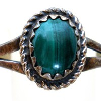 Sterling Silver Malachite Ring Size 5.5 Vintage
