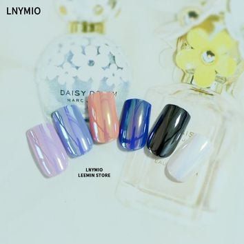 Mirror Nails multi color reflective fake nail tips long artificial art orange blue black white pink purple
