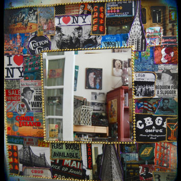 New York City Wall Mirror Decoupage CUSTOM MADE