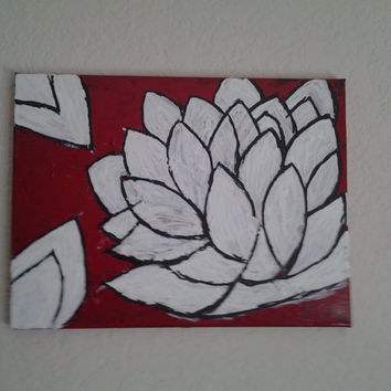 "Orginal Abstract Art Oil Painting Handmade Signed on Wrapped Canvas w/Wood framing 16x12"" White Lotus Flower"